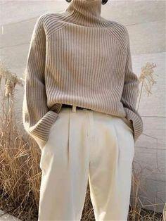 Elegant Fashion High Neck Long Sleeve Sweaters,Tops,Knit Tops - www.linenlooks.com