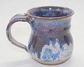 Wheel Thrown Stoneware Coffee Mug in Lavender Blue and Plum