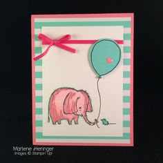 handmade kids' card:Love You Lots Birthday ... pink elephant offers a ballooon to an aqua mouse ... cute! ... Stampin' Up!