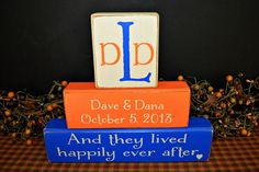 Custom Personalized Primitive wood blocks sign wedding anniversary college colors sign rustic distressed Family by PrimitiveHodgePodge