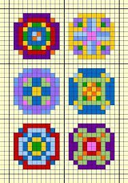 - Small round design chart for cross stitch, knitting, knotting, beading, weavin. Pony Bead Patterns, Loom Patterns, Beading Patterns, Quilt Patterns, Pixel Art Templates, Perler Bead Templates, Twister Quilts, Safety Pin Crafts, Cross Stitch Geometric