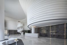 Hospital Architecture, Space Architecture, Modern Hotel Lobby, Curve Design, Shape Design, Architect Magazine, Sales Center, Interior Design Sketches, Lobby Lounge