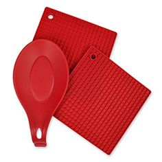 DII Kitchen Millennium 2Piece Heat Resistant Seamless Non Stick Dishwasher Safe BPA Free Silicone Kitchen Set Includes Potholder  Spoon Rest Red