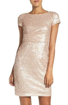 Would also look cute with flats or keds at the end of the night. Adrianna Papell Sequin Sheath Dress available at #Nordstrom