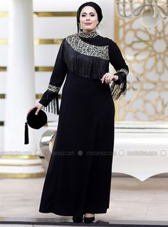8df2d7c1314b3 Black - Fully Lined - Crew neck - Polyester - Muslim Plus Size Evening Dress  -