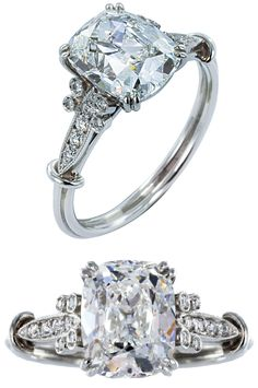 2.12ct Cushion Diamond Engagement Ring. Platinum vintage style solitaire engagement ring consisting of 1 cushion cut diamond, weighing 2.12 carats, measuring 8.49 x 6.77 x 4.67mm, having a color and clarity of F/VS2 and GIA report number 5141449626. The mounting is accented by bezel and bead set Old European cut diamonds having a total weight of .16 carats having an approximate color and clarity of G-H/VS1-VS1 and millgrain edges. Via 1stdibs.