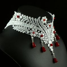 White Lace Choker Necklace with Red Rubies Gemstones by Arthlin