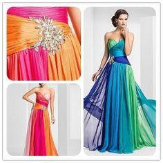 2014 New Colorful Chiffon Long Formal Evening Bridesmaid Prom Party Dress Gown $102.00