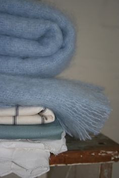 Clear blue skies mohair blanket by Cape Mohair. Baby blue for baby boy's room
