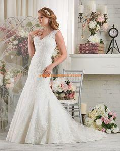 Bonny Glamouröse Schicke Schöne Brautkleider aus Softnetz mit Applikation