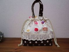 Lunch Bag ハンドメイドお弁当袋YUWAマカロンケーキチョコ インテリア 雑貨 Handmade ¥600yen 〆05月19日