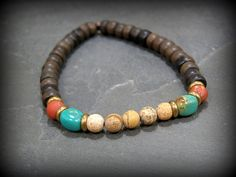 Mens Bracelet Turquoise Bracelet Wood Bracelet por StoneWearDesigns