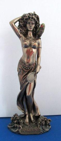 Yoruba African Goddess Oshun Statue - Oshun Flag - Goddess of Beauty and Love Voodoo, African Mythology, Goddess Names, Yoruba People, Ancient Beauty, Triple Goddess, Mythological Creatures, Black Pride, African Culture
