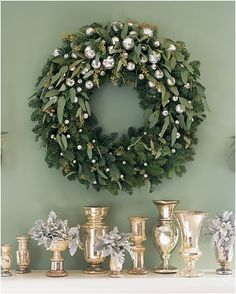 Classic looking wreath, lovely traditional silver.