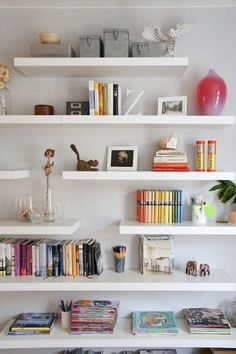 20 Chic Ways to Organize Your Office: http://www.stylemepretty.com/living/2014/06/12/20-chic-ways-to-organize-your-office/ | Credit: http://www.brightontheday.com/6535/white-shelves