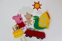 Peppa Pig First Birthday Photo Booth Props by TOASTEDProps on Etsy