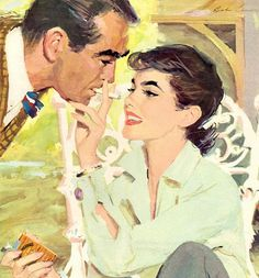 Sharing a smoke...ad for Phillip Morris cigarettes, illustrated by Robert Levering, Sep 1955