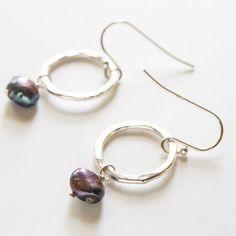 june birthstone pearl earrings dark purple on by stonelust on Etsy, $22.00