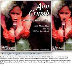I mixed a top 10 billboard jazz cd by the broadway diva Ann Crumb. The music was recorded live, and I mixed all tracks. Jazz Cd, Band Posters, Movie Posters, Billboard, Diva, Broadway, Ann, Album, Music