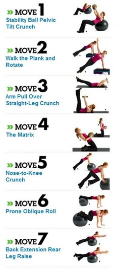 Abs workout I do most of these in my core training class, I need a bigger yoga ball for home though.