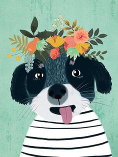 PUPPY DOGS WITH FLOWERS Art Print by Mia Charro | Society6