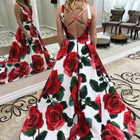 Princess Floral Long Prom Dress, Spring Prom Dress - Thumbnail 1