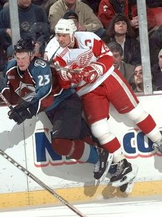 Steve Yzerman and Colorado's Milan Hejduk mix it up during the Red Wings win over the Colorado Avalanche, October (Detroit News archive) Detroit Hockey, Detroit Sports, Detroit News, Steve Yzerman, Red Wings Hockey, Olympic Games Sports, College Basketball, Soccer, San Jose Sharks