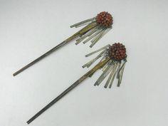 Japanese Hair Pins for Women Meiji Era Bira Kanzashi w Coral Bead 1018 | eBay