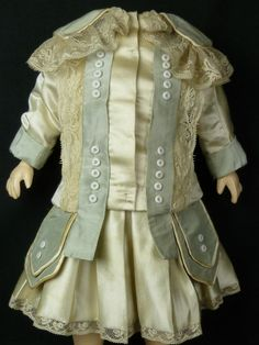 antique doll clothes exquisite   EXQUISITE COUTURIER FRENCH AQUA AND IVORY SILK ANTIQUE DOLLS DRESS