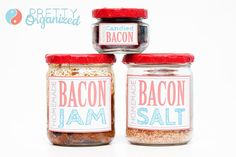 Recipes for bacon jam, bacon salt, and bacon candy!  Great DIY gift!