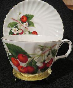 Vintage Adderley Bone China Made in England Tea Cup Saucer Cherry Ripe   eBay