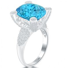 15.25 CTW Natural Blue Topaz & Diamond Fashion Cocktail Ring 14k White Gold - Cocktail Rings - Rings