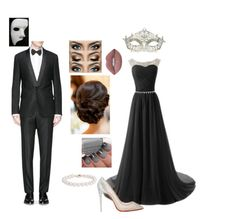 """""""Phantom of the Opera Prom"""" by ivoryvixen ❤ liked on Polyvore featuring Givenchy, Christian Louboutin, Lime Crime, Blue Nile and Masquerade"""