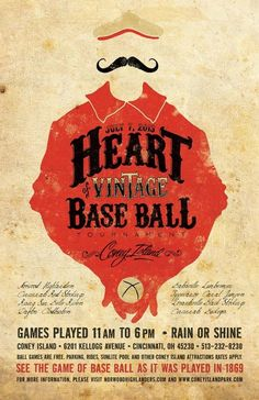 #graphic #design #poster #illustration #heart #vintage #retro #baseball
