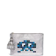 Anya Hindmarch 'Space Invaders Georgiana' embossed metallic leather... (76.930 RUB) ❤ liked on Polyvore featuring bags, handbags, clutches, real leather handbags, anya hindmarch handbags, embossed leather purse, leather handbags and leather purses