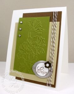 handmade card ... embossing folder flowers take center stage ... neutral colors with olive ... like the grouping of rectangular panels ...