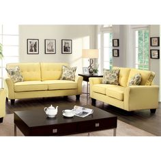 Furniture Of America Primavera Modern Linen Loveseat And Sofa Set    Overstock™ Shopping   Great Deals On Furniture Of America Sofas U0026 Loveseats