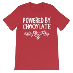 Powered By Chocolate Kids Size T-Shirt - Red / 3 to 4 Years