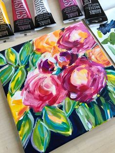 Learn the easy way to paint abstract flowers with acrylic paint on canvas with artist Elle Byers. Easy flower painting tutorials with step by step instructions for beginners. Canvas Painting Tutorials, Acrylic Painting For Beginners, Beginner Painting, Painting Videos, Online Painting, Acrylic Painting Canvas, Painting Abstract, Painting Techniques, Flow Painting