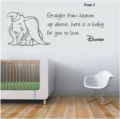 Wall stickers dumbo the elephant straight from heaven vinyl decal decor nursery Dumbo Nursery, Baby Elephant Nursery, Disney Nursery, Dumbo Baby Shower, Baby Dumbo, Disney Babys, Baby Disney, Baby Boy Rooms, Baby Boy Nurseries