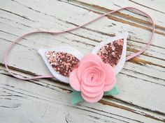 Items similar to Easter Headband - Baby Easter Headband - Felt Flower Headband - Bunny Ears Headband on Etsy Bunny Ears Headband, Felt Headband, Ear Headbands, Baby Girl Headbands, Flower Headbands, Ribbon Flower Tutorial, Hair Bow Tutorial, Felt Hair Accessories, Wedding Accessories