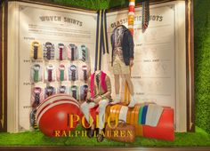 Ralph Lauren Colorful shirts, iconic ties, & other #FathersDay gifts, as seen in the Polo flagship window at 711 Fifth Avenue