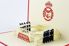Real Madrid Stadium pop up card/ card/Real by Bielyse Real Madrid, Pop Up, 3d, Paper, Cards, Handmade, Etsy, Hand Made, Craft