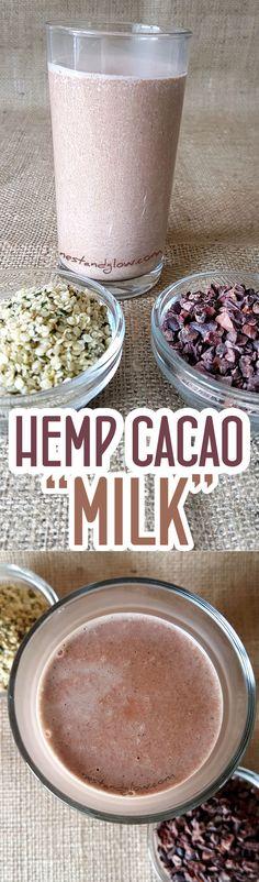 Hemp Seed Cacao Chocolate Milk Recipe - Quick and Easy Hemp Milk via @nestandglow