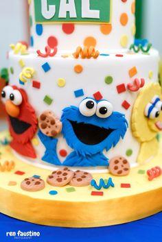Sesame Street Cake from a Sesame Street Birthday Party on Kara's Party Ideas | KarasPartyIdeas.com (17)