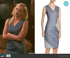 Belle's grey colorblock dress on Days of our Lives. Outfit Details: https://wornontv.net/59114/ #DaysofourLives