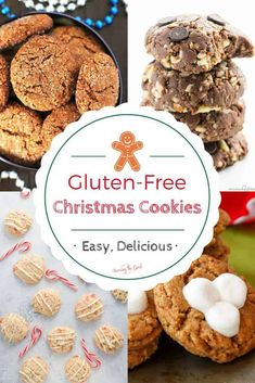 Here is the best collection of gluten-free Christmas cookie recipes. This ever growing list of easy gluten-free cookie recipes will keep you in the holiday spirit all year long. These are easy delicious gluten free cookie recipes that anyone can make. Delicious Dinner Recipes, Best Dessert Recipes, Easy Desserts, Holiday Recipes, Winter Recipes, Yummy Recipes, Drink Recipes, Gluten Free Christmas Cookies, Best Christmas Cookie Recipe
