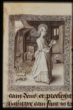 The Hague, KB, 76 F d'Ore di Filippo di by Andrea Carloni (Rimini). Note the gridiron hanging in the fireplace and the tongs. Medieval Life, Medieval Art, Medieval Manuscript, Illuminated Manuscript, Isabella Of Castile, Medieval Furniture, History Of England, Grisaille, Historical Images