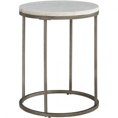 Casana Alana Round End Table with White Marble Top