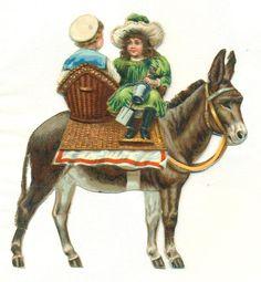 large victorian scrap children on donkey